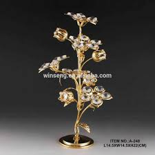 24k gold plated crystal decorative flower stand for home