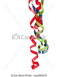 curly ribbon blue and green curly ribbon on a white background stock photo