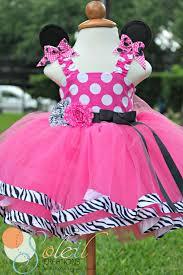 zebra pink dot minnie mouse tutu dress ear hair clips