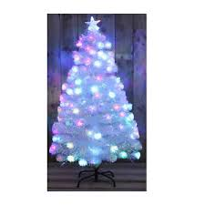 white rainbow led fibre optic tree multi coloured 3ft