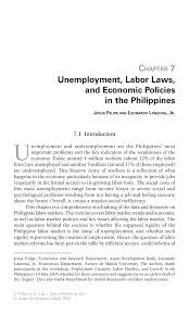 unemployment labor laws and economic policies in the philippines