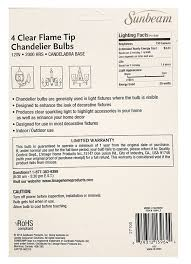 set of 24 sunbeam clear flame tip chandelier bulbs candelabra