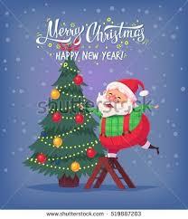 decorating christmas tree cartoon stock images royalty free
