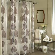 Modern Bathroom Accessories by Modern Bathroom With Grey Leaf Motif Fabric Shower Curtain And
