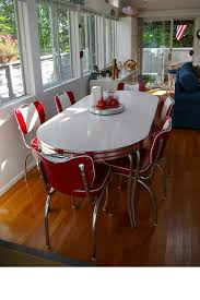 Kitchen Table Setting by Modern Reproduction Of Diner Setting Retro Leaf Table And 6 Red