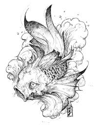 black and white koi fish tattoo design tattooshunter com