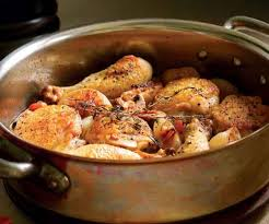 Bacon Main Dishes - braised chicken legs with white wine bacon cipolline onions