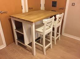 ikea free standing kitchen island and 2 bar stools white oak