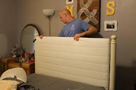 turn a wrought iron headboard into an upholstered headboard