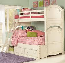 Girls Classic Bedroom Furniture Twin Over Full Bunk Bed With Underbed Storage Unit By Legacy