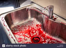 kitchen sink with blood for halloween stock photo royalty free