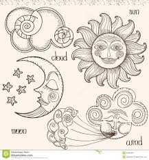 image of the sun moon wind and clouds stock vector