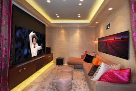 Home Theater Ceiling Lighting Basement Home Theater Ideas Home Theater Contemporary With Play