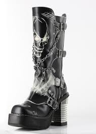 heeled biker boots black spawn calf high skull biker goth buckle platform punk boots 9