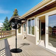 Patio Fans With Misters by Outdoor Misting Stand Fan Black