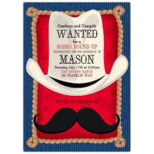 cowboy mustache invitations paperstyle