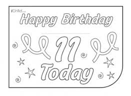 birthday card design template for a 11 year 11th birthday ichild