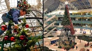 time lapse galleria dallas christmas tree is raised and decorated