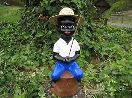 black fishing boy concrete statue pond lawn jockey ebay