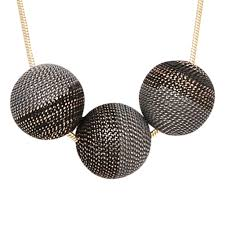 black jewelry necklace images Short gold grey and black three sphere chain necklace kassko jpg