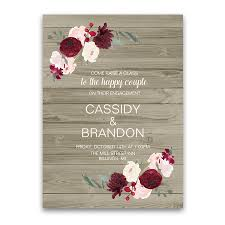 Engagement Party Invitation Cards Rustic Floral Burgundy Blush Engagement Party Invite