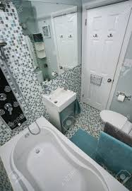 small modern bathroom interior mosaic tiles stock photo picture