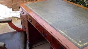 Office Desk Leather Top Large Pedestal Green Leather Top Writing Office Desk Chair