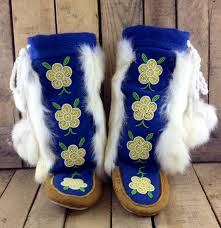 Deer Hide Tanning Companies Hand Tanned Moose Hide Mukluks With Blue Stroud And White Rabbit