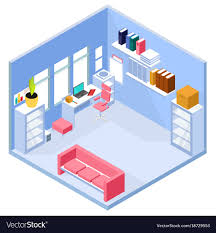 home interior vector isometric home office interior royalty free vector image