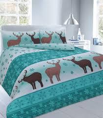 Teal Single Duvet Cover Xmas Duvet Cover With Pillow Case Novelty Reindeer Christmas Quilt