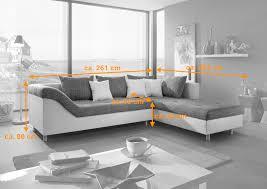 sofa grau weiãÿ sam sofa grau weiß ecksofa phil 261 x 204 cm