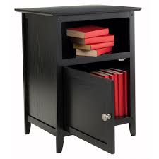 Wood End Tables Winsome Wood End Table Nightstand With Door And Shelf Home