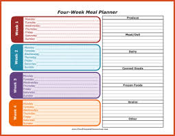 weekly meal planner with grocery list four week meal planner with