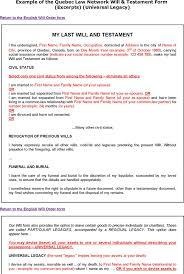 quebec last will and testament form download free u0026 premium