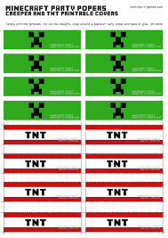 printable minecraft creeper u0026 tnt party popper cover templates