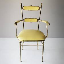 French Yellow Chair Vintage French Brass Chairs Set Of 3 For Sale At Pamono