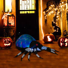 inflatable spider halloween homcom 5 u0027 giant spider halloween led lighted outdoor airblown
