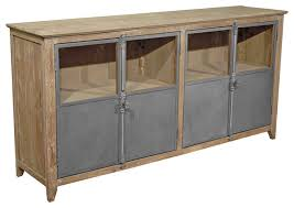 chaucer industrial loft limed wood and metal sideboard storage