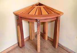 wood shower benches handcrafted from redwood