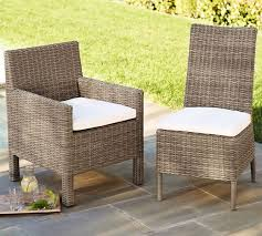 Outdoor Wicker Dining Chair Torrey All Weather Wicker Dining Side Chair Pottery Barn