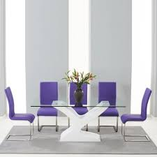 Purple Chair Uk Newbury Gloss And Glass Dining Table With 6 Milan Purple Chairs