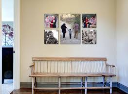 decoration canvas family photo wall display ideas in the corridor