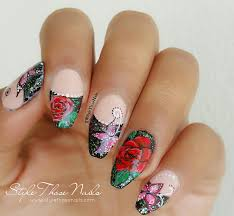 style those nails roses an butterflies french tip nailart