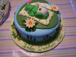 frog themed baby shower frog theme baby shower cake cakecentral