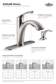 kitchen faucet with sprayer and soap dispenser kohler mistos single handle pull out sprayer kitchen faucet in