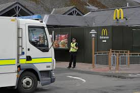 bomb squad tackle suspicious package at mcdonald u0027s just two miles