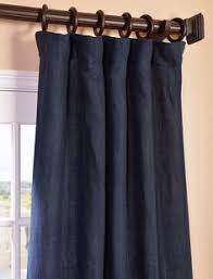 Brown Linen Curtains Nairobi Denim Printed Cotton Curtain Back Tab And Hook Belt