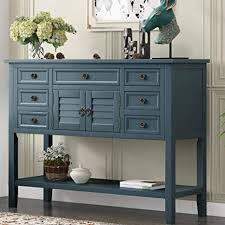 buffet sideboard cabinet storage kitchen hallway table industrial rustic buffet table 45 console tables with cabinet 7 storage drawers and bottom shelf retro style sideboard console table for living room entryway hallway