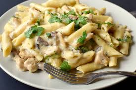 base cuisine chicken pasta with white sauce pepper delight