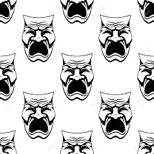 seamless theater or masquerade masks background with dramatic